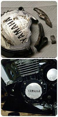 Восстановление крышки картера - мотоцикл ямаха